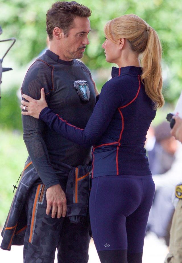 Pepper Potts aparece com anel de noivado e beijando Tony Stark em novas fotos do set de gravações de Vingadores 4!