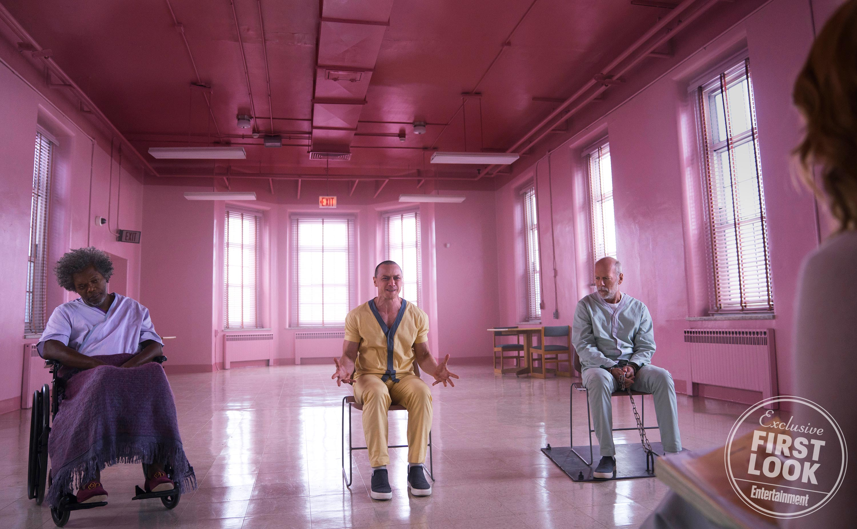 Glass Samuel L. Jackson, James McAvoy, e Bruce Willis